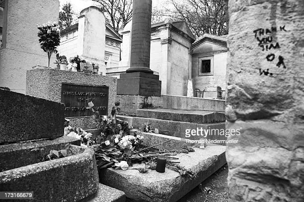 The grave of Jim Morrison is seen at Pere Lachaise cemetery on April 22 2012 in Paris France