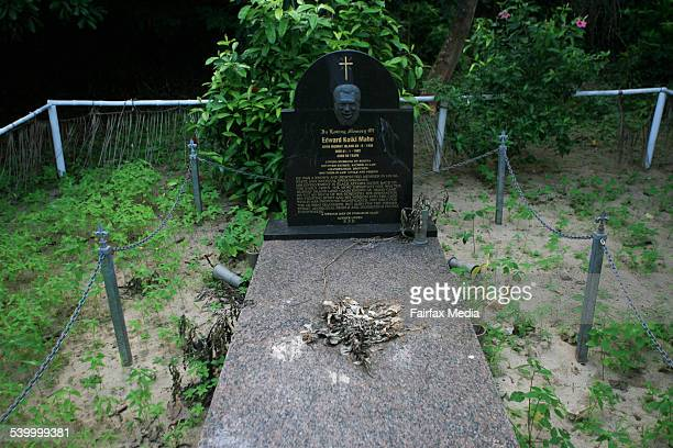 The grave of land rights plaintiff Eddie Mabo on Mer Island in the Torres Strait August 9 2006