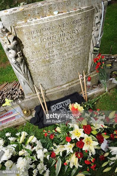 The grave of Led Zeppelin drummer John Bonham at St Michael Churchyard on September 28 2010 in Rushock England Dead Famous is a journey through the...