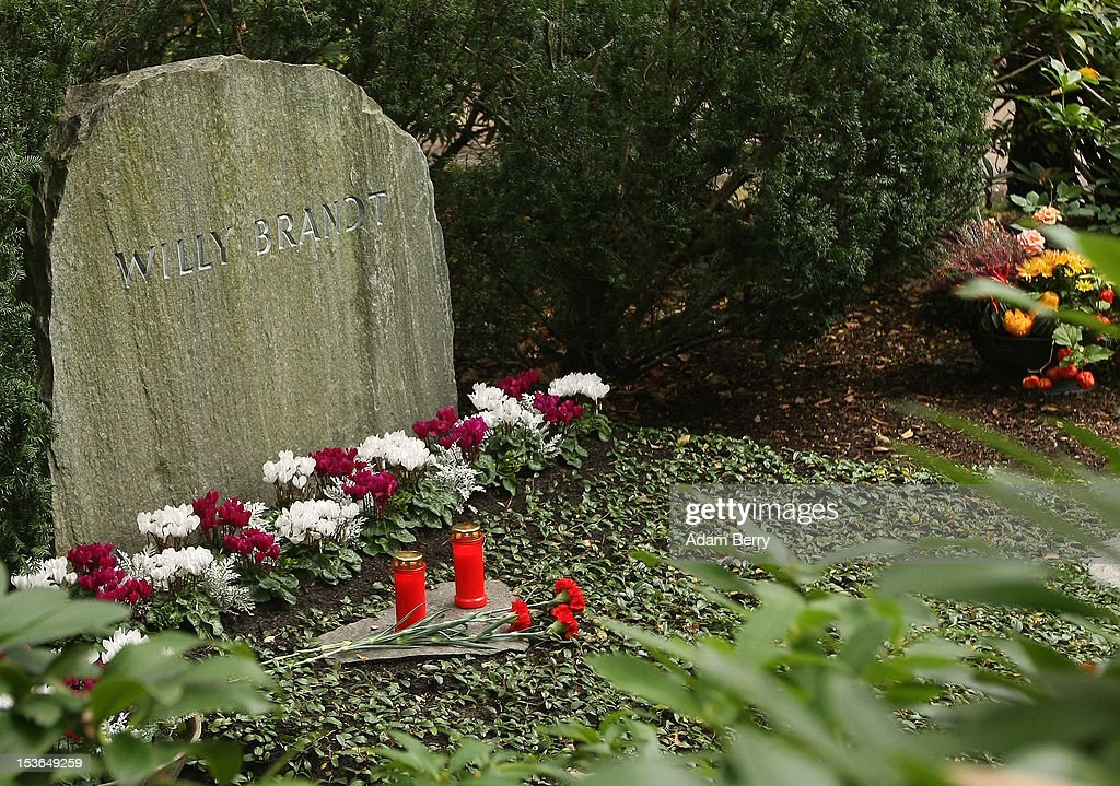 The grave of Willy Brandt, former chancellor of the Federal Republic of Germany and Nobel Peace Prize winner, is seen on October 8, 2012 in Berlin, Germany. Brandt was born on December 18, 1913 in Luebeck and died 20 years ago today. He led the SPD from 1964 to 1987 and was chancellor of West Germany from 1969 to 1974, a post from which he resigned after it was revealed that one of his closest aides worked as an agent of the East German secret service, or Stasi. For his efforts to achieve reconciliation between West Germany and the countries of the Soviet bloc, Brandt won the Nobel Prize for Peace in 1971.