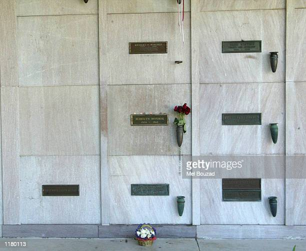 The grave site of late actress Marilyn Monroe is seen on July 26 2002 at the The Westwood Village Memorial Park and Mortuary in Westwood California...