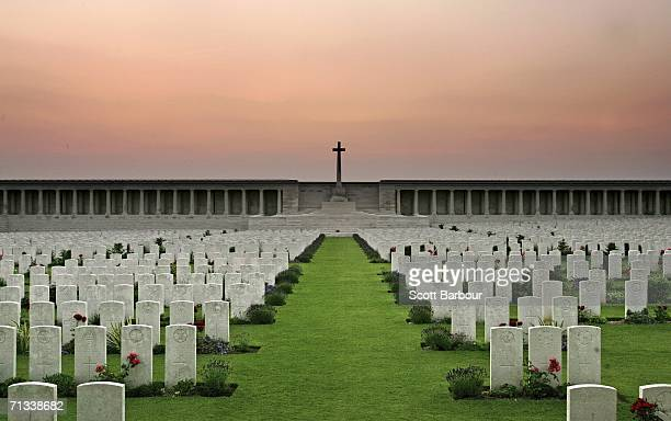 The grave stone of soldiers killed in the Battle of Somme line up at sunset at the Pozieres Memorial as the 90th anniversary of the Battle of the...