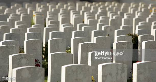 The grave stone of soldiers killed in the Battle of Somme line up at the Pozieres Memorial as the 90th anniversary of the Battle of the Somme...