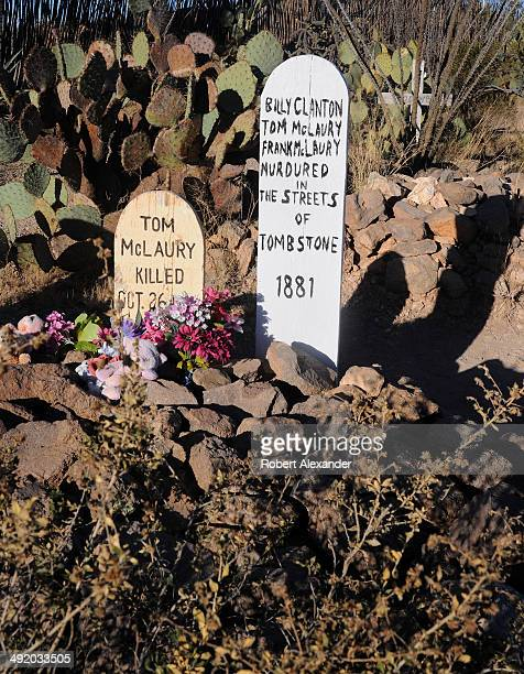 The graves of the three men who were killed in the famed 'Gunfight at the OK Corral' in 1881 is an attraction at the historic Boothill Graveyard a...