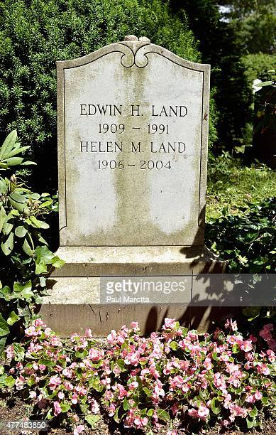 The gravesite of Polaroid founder Edwin Land at historic Mt Auburn Cemetery founded in 1831 and designated a National Historic Landmark and contains...