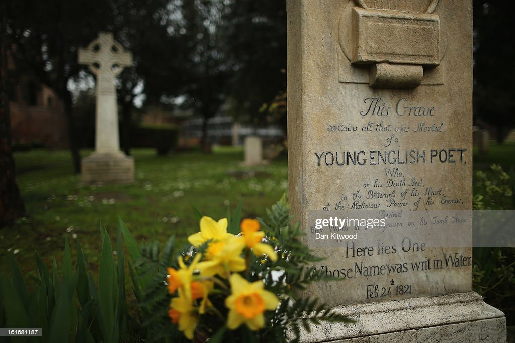 The gravestone of poet John Keats, (1795-1821), stands in Rome's 'Non Catholic Cemetery' on March 26, 2013 in Rome, Italy. John Keats, one of England's most famous poets died early in 1820 of tuberculosis aged 25, after travelling to Italy in search of a better climate to help cure him of the disease. Rome's Non-Catholic Cemetery contains one of the highest densities of famous and important graves anywhere in the world. It is the final resting-place of the poets Percy Shelley and John Keats, as well as many other painters, sculptors and authors who died in Rome. The cemetery which began it's use in 1730 continues today, containing graves of Orthodox Christians, Jews, Muslims and other non-Christians, and is one of the oldest burial grounds in Europe.