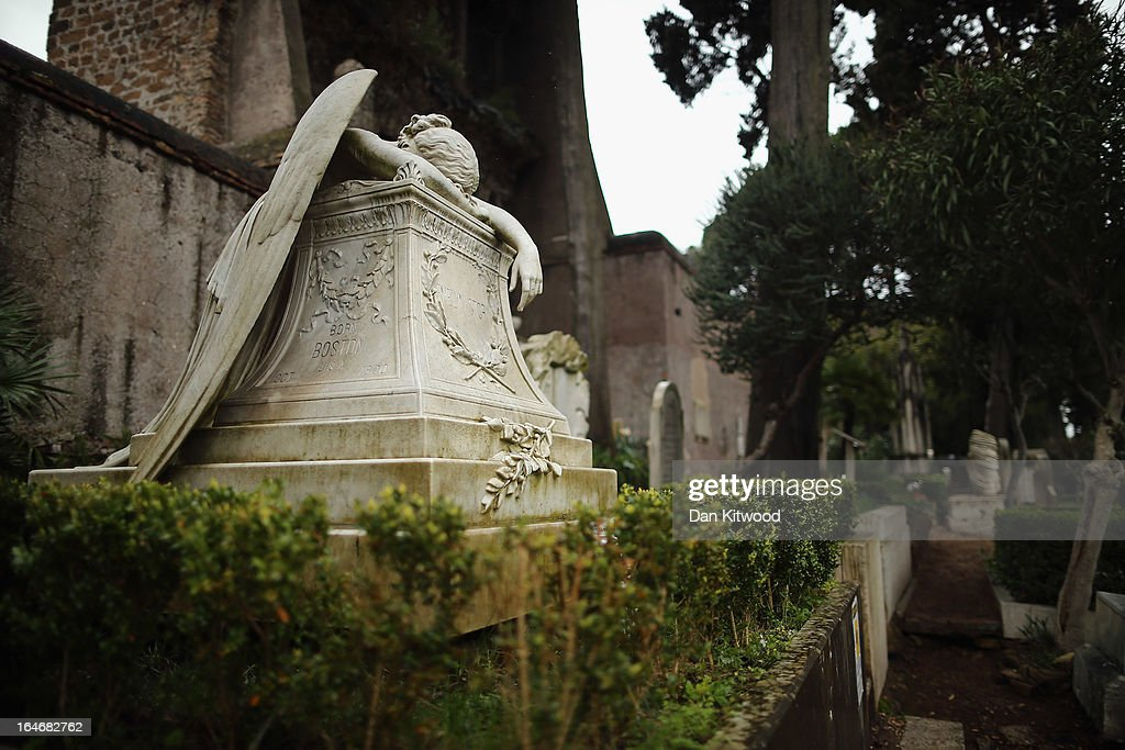 The gravestone of prominent American sculptor William Wetmore Story's wife Emelyn, stands in Rome's 'Non Catholic Cemetery' on March 26, 2013 in Rome, Italy. After working as a sculptor for 40 years Wetmore died in 1895, and was buried in the same tomb. Rome's Non-Catholic Cemetery contains one of the highest densities of famous and important graves anywhere in the world including John Keats, one of England's most famous poets, who died early in 1820 of tuberculosis aged 25, after travelling to Italy in search of a better climate to help cure him of the disease. As well as being the final resting-place of the poets Percy Shelley and John Keats, it is also home to graves of many other painters, sculptors and authors who died in Rome. The cemetery which began it's use in 1730 continues today, containing graves of Orthodox Christians, Jews, Muslims and other non-Christians, and is one of the oldest burial grounds in Europe.