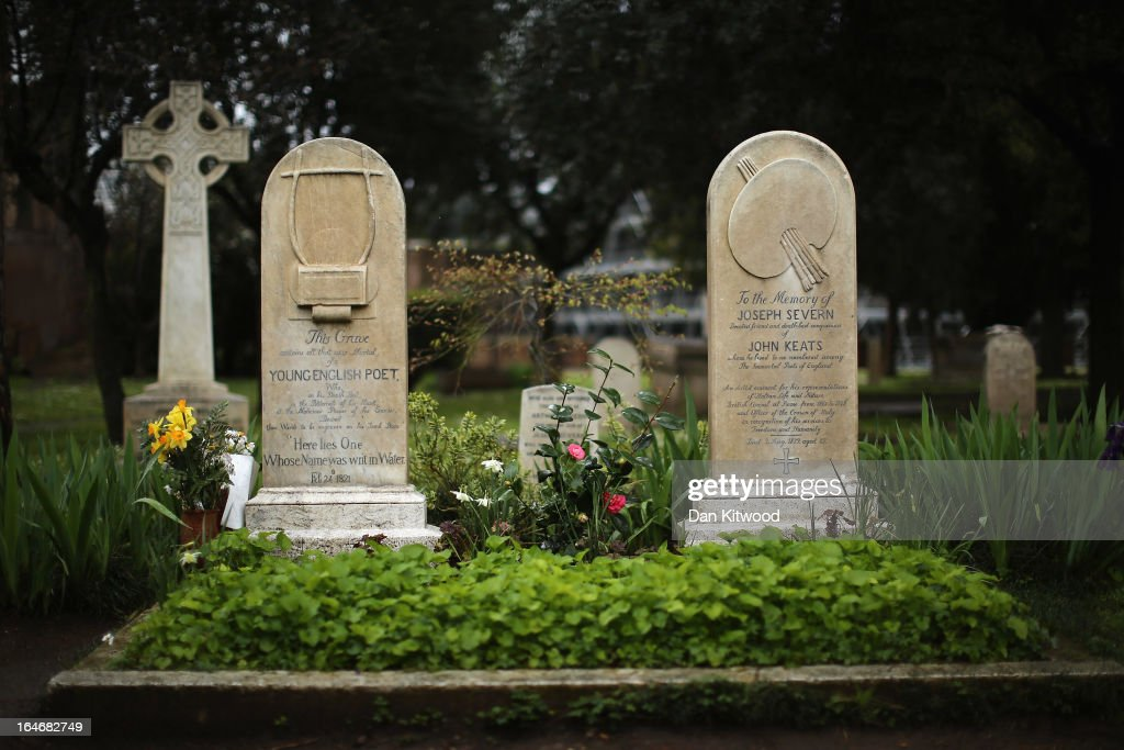 The gravestones of poet John Keats, (1795-1821), (L) and painter and friend Joseph Severn, (1803-79) stan in Rome's 'Non Catholic Cemetery' on March 26, 2013 in Rome, Italy. John Keats, one of England's most famous poets died early in 1820 of tuberculosis aged 25, after travelling to Italy in search of a better climate to help cure him of the disease. Rome's Non-Catholic Cemetery contains one of the highest densities of famous and important graves anywhere in the world. It is the final resting-place of the poets Percy Shelley and John Keats, as well as many other painters, sculptors and authors who died in Rome. The cemetery which began it's use in 1730 continues today, containing graves of Orthodox Christians, Jews, Muslims and other non-Christians, and is one of the oldest burial grounds in Europe.