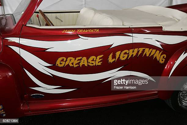 The Grease Lightning car from the movie 'Grease' is displayed at the Barris Star Car Collection Auction at the Petersen Automotive Museum on May 13...
