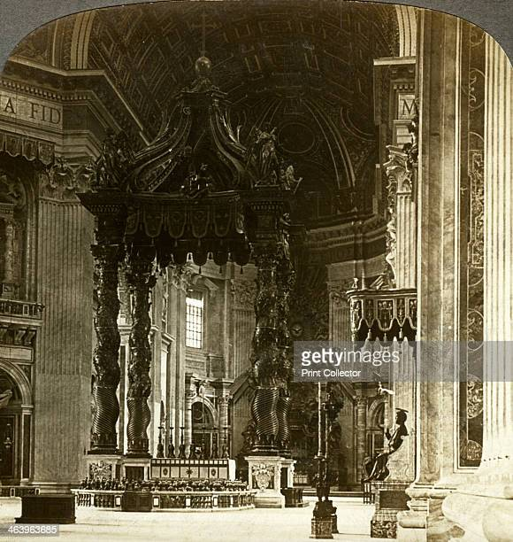The great altar with its baldachin St Peter's Basilica Rome Italy The monumental bronze baldachin shelters the papal altar and the relics of St Peter...