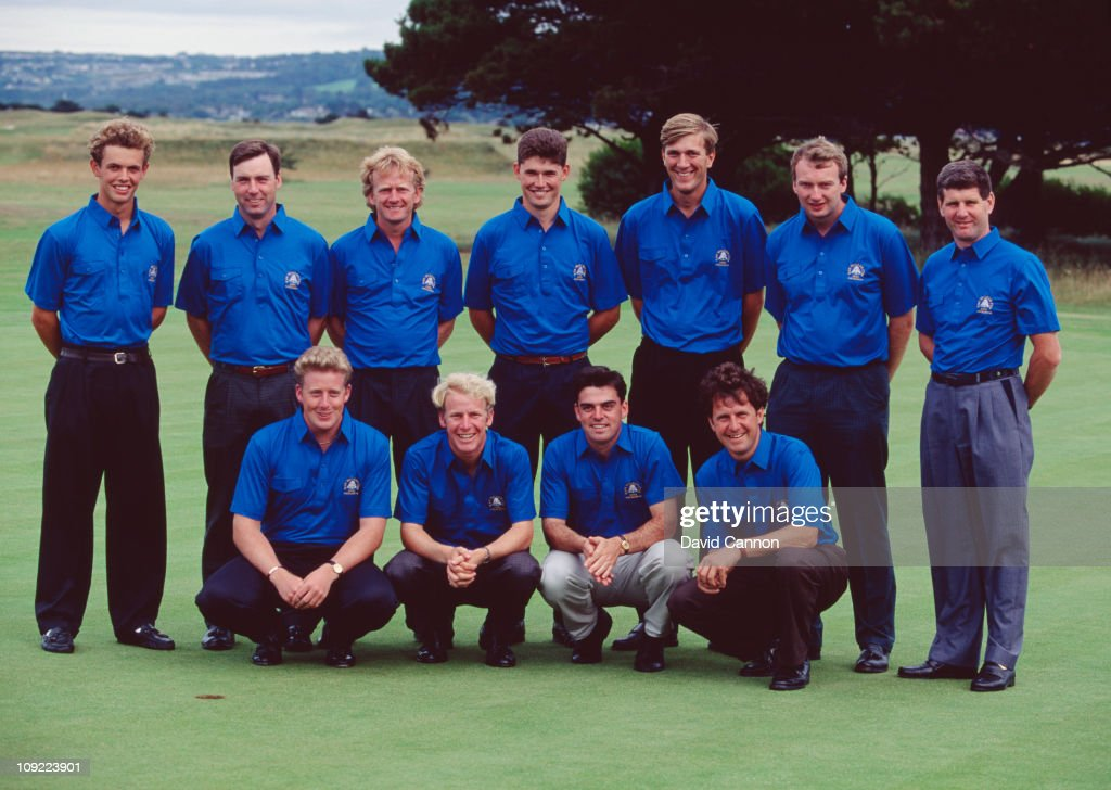 The Great Britain and Ireland team during the Walker Cup at Portmarnock Golf Club, Ireland, 5th September 1991. Amongst them are Irish golfers <a gi-track='captionPersonalityLinkClicked' href=/galleries/search?phrase=Padraig+Harrington&family=editorial&specificpeople=175865 ng-click='$event.stopPropagation()'>Padraig Harrington</a> and <a gi-track='captionPersonalityLinkClicked' href=/galleries/search?phrase=Paul+McGinley&family=editorial&specificpeople=178983 ng-click='$event.stopPropagation()'>Paul McGinley</a>.