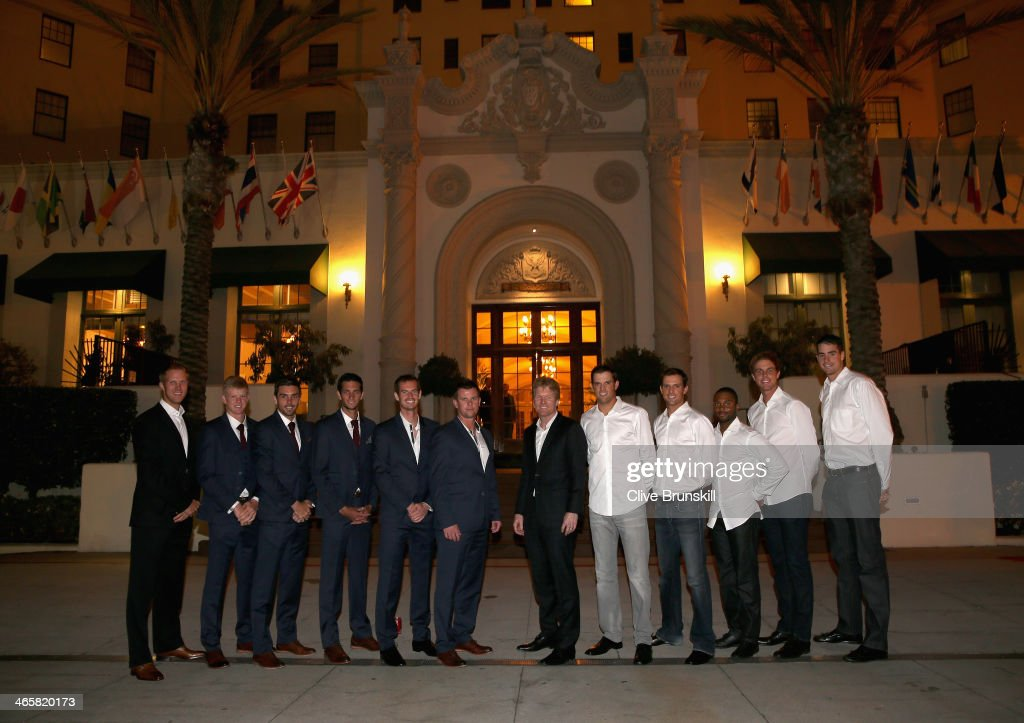 The Great Britain and United States Davis Cup teams <a gi-track='captionPersonalityLinkClicked' href=/galleries/search?phrase=Dominic+Inglot&family=editorial&specificpeople=7038264 ng-click='$event.stopPropagation()'>Dominic Inglot</a>, <a gi-track='captionPersonalityLinkClicked' href=/galleries/search?phrase=Kyle+Edmund&family=editorial&specificpeople=7070090 ng-click='$event.stopPropagation()'>Kyle Edmund</a>, Colin Fleming, James Ward, Andy Murray, captain <a gi-track='captionPersonalityLinkClicked' href=/galleries/search?phrase=Leon+Smith+-+Tennis+Coach&family=editorial&specificpeople=12698515 ng-click='$event.stopPropagation()'>Leon Smith</a>, captain <a gi-track='captionPersonalityLinkClicked' href=/galleries/search?phrase=Jim+Courier&family=editorial&specificpeople=69642 ng-click='$event.stopPropagation()'>Jim Courier</a>, <a gi-track='captionPersonalityLinkClicked' href=/galleries/search?phrase=Bob+Bryan+-+Tennis+Player&family=editorial&specificpeople=203335 ng-click='$event.stopPropagation()'>Bob Bryan</a>, <a gi-track='captionPersonalityLinkClicked' href=/galleries/search?phrase=Mike+Bryan+-+Tennis+Player&family=editorial&specificpeople=204456 ng-click='$event.stopPropagation()'>Mike Bryan</a>, <a gi-track='captionPersonalityLinkClicked' href=/galleries/search?phrase=Donald+Young&family=editorial&specificpeople=194754 ng-click='$event.stopPropagation()'>Donald Young</a>, <a gi-track='captionPersonalityLinkClicked' href=/galleries/search?phrase=Sam+Querrey&family=editorial&specificpeople=736491 ng-click='$event.stopPropagation()'>Sam Querrey</a> and <a gi-track='captionPersonalityLinkClicked' href=/galleries/search?phrase=John+Isner&family=editorial&specificpeople=4439464 ng-click='$event.stopPropagation()'>John Isner</a> pose for a photograph before the official team dinner at the El Cortez hotel prior to the Davis Cup World Group first round between the U.S. and Great Britain at PETCO Park on January 29, 2014 in San Diego, California.