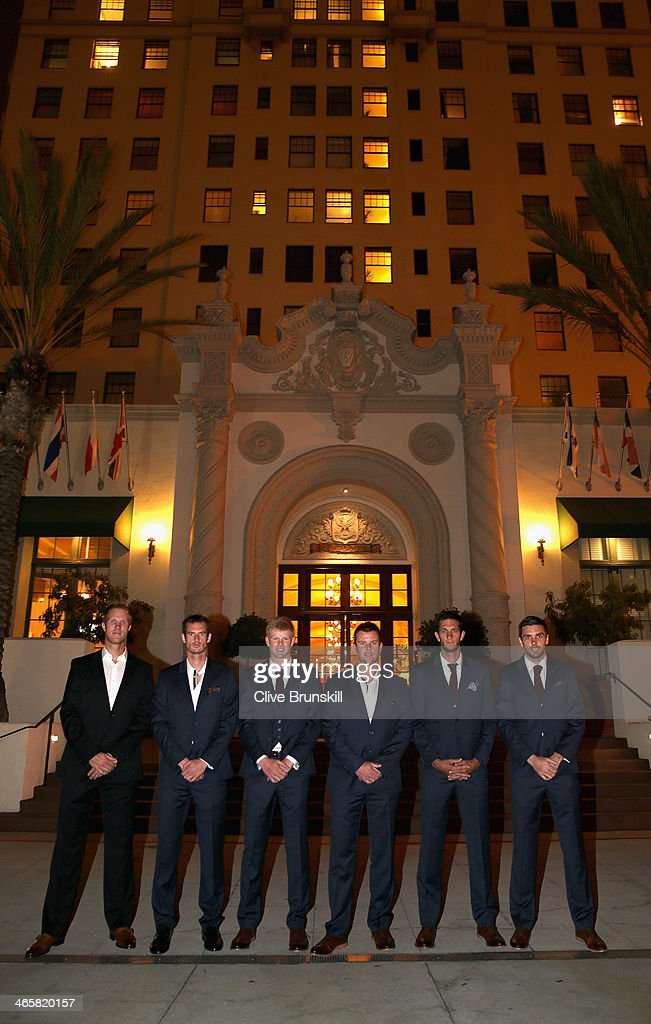 The Great Britain Davis Cup team <a gi-track='captionPersonalityLinkClicked' href=/galleries/search?phrase=Dominic+Inglot&family=editorial&specificpeople=7038264 ng-click='$event.stopPropagation()'>Dominic Inglot</a>, Andy Murray, <a gi-track='captionPersonalityLinkClicked' href=/galleries/search?phrase=Kyle+Edmund&family=editorial&specificpeople=7070090 ng-click='$event.stopPropagation()'>Kyle Edmund</a>, captain <a gi-track='captionPersonalityLinkClicked' href=/galleries/search?phrase=Leon+Smith+-+Tennis+Coach&family=editorial&specificpeople=12698515 ng-click='$event.stopPropagation()'>Leon Smith</a>, James Ward and Colin Fleming pose for a photograph before the official team dinner at the El Cortez hotel prior to the Davis Cup World Group first round between the U.S. and Great Britain at PETCO Park on January 29, 2014 in San Diego, California.