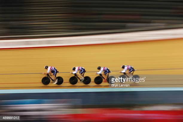 The Great Britain Men's Pursuit Team in action during the Team Pursuit Qualifying Session on day one of the UCI Track Cycling World Cup at the Lee...