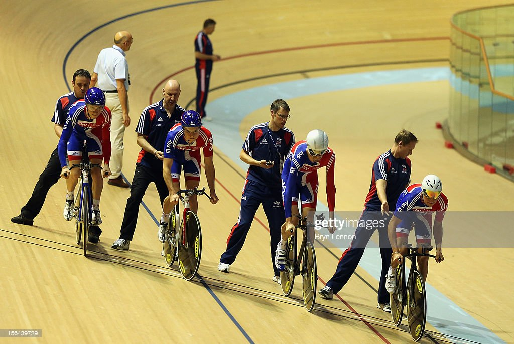 The Great Britain Men's Pursuit Team practice their start during training for the UCI Track Cycling World Cup at the Sir Chris Hoy Velodrome on November 15, 2012 in Glasgow, Scotland.