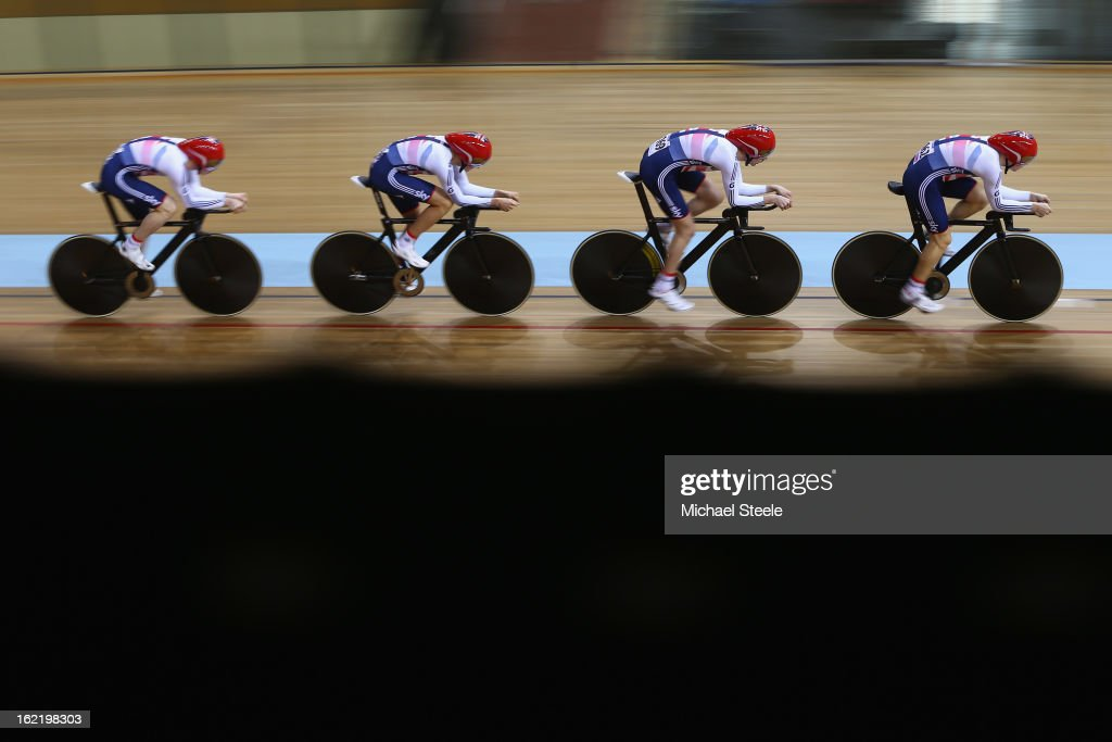 The Great Britain men's team pursuit squad on their way to qualification for the final during day one of the UCI Track World Championships at Minsk Arena on February 20, 2013 in Minsk, Belarus.