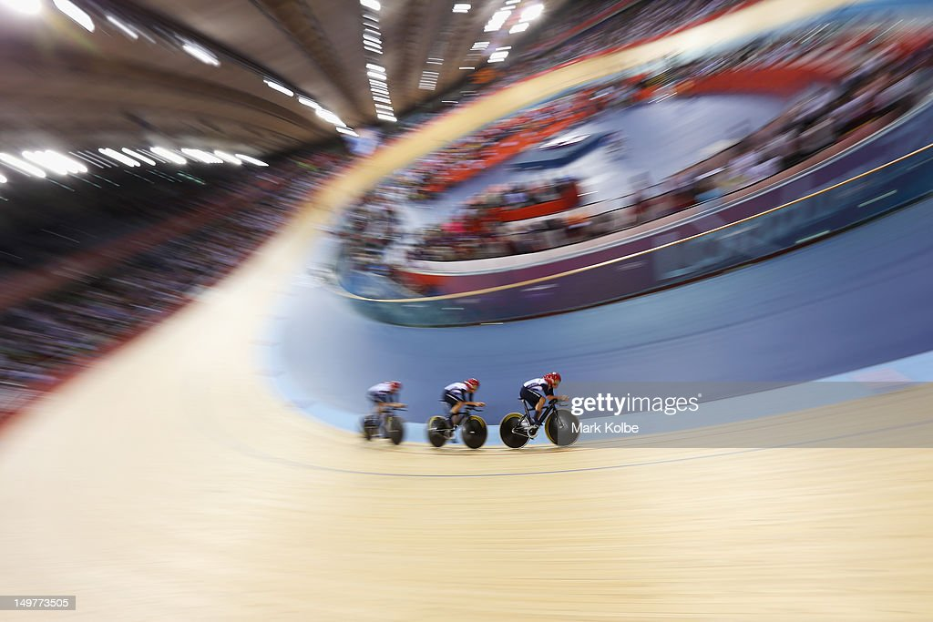 The Great Britain mens team ride in the 4000m Team Pursuit event at the Velodrome on August 3, 2012 in London, England.