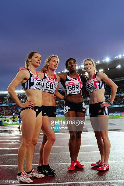 The Great Britain team celebrate reaching the final following their Women's 4x400 Metres Semi Final during day four of the 21st European Athletics...