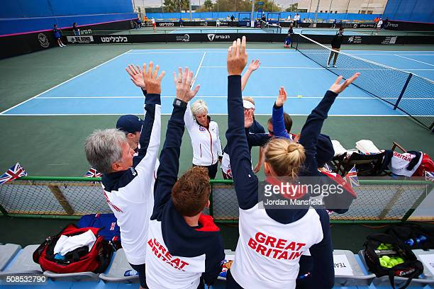 The Great Britain team cheer ahead of the start of their tie against Georgia on day three of the Fed Cup Europe/Africa Group One fixture at the...