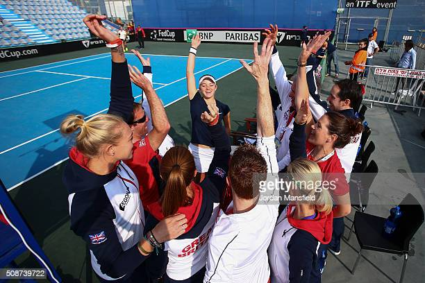 The Great Britain team cheer ahead of the tie between Belgium and Great Britain on day three of the Fed Cup Europe/Africa Group One fixture at the...