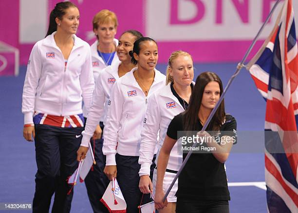 The Great Britain team Elena Baltacha Anne Keothavong Heather Watson Laura Robson and captain Judy Murray walk onto court for the presentation...