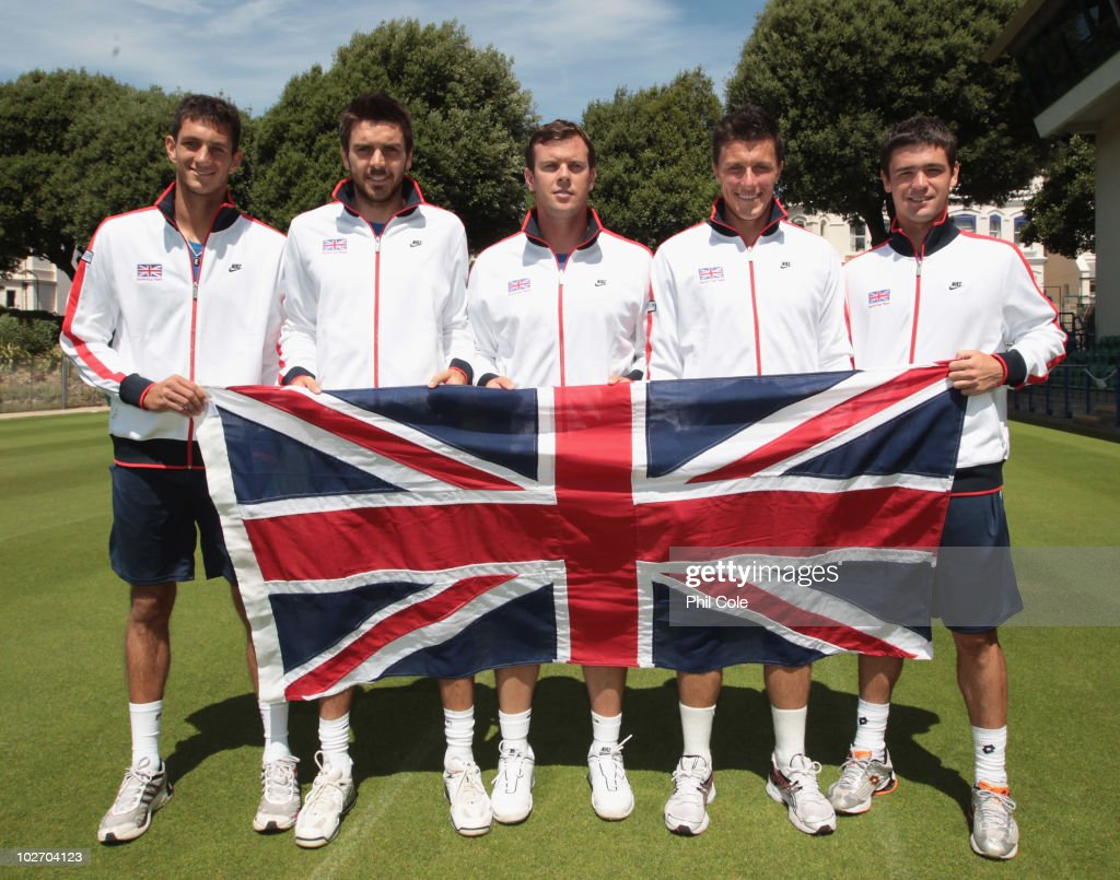 The Great Britain team from L to R, James Ward, Colin Fleming, Captain <a gi-track='captionPersonalityLinkClicked' href=/galleries/search?phrase=Leon+Smith+-+Tennis+Coach&family=editorial&specificpeople=12698515 ng-click='$event.stopPropagation()'>Leon Smith</a>, Ken Skupski and <a gi-track='captionPersonalityLinkClicked' href=/galleries/search?phrase=Jamie+Baker&family=editorial&specificpeople=583109 ng-click='$event.stopPropagation()'>Jamie Baker</a> during the Davis Cup draw between Great Britain and Turkey at Devonshire Park on July 8, 2010 in Eastbourne, England.