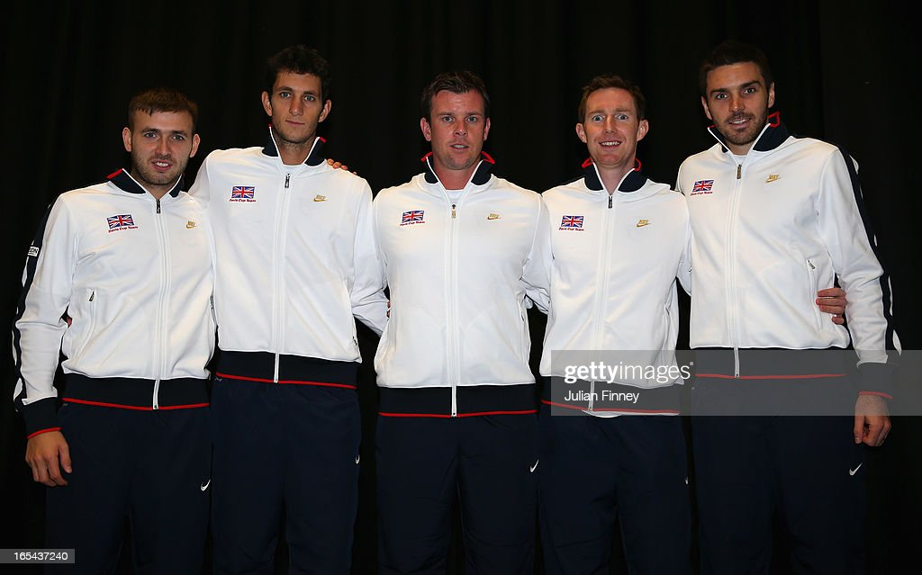 The Great Britain team line up (L-R) Daniel Evans, James Ward, Captain <a gi-track='captionPersonalityLinkClicked' href=/galleries/search?phrase=Leon+Smith+-+Tennis+Coach&family=editorial&specificpeople=12698515 ng-click='$event.stopPropagation()'>Leon Smith</a>, <a gi-track='captionPersonalityLinkClicked' href=/galleries/search?phrase=Jonathan+Marray&family=editorial&specificpeople=210685 ng-click='$event.stopPropagation()'>Jonathan Marray</a> and Colin Fleming during previews for the Davis Cup match between Great Britain and Russia at the Ricoh Arena on April 4, 2013 in Coventry, England.