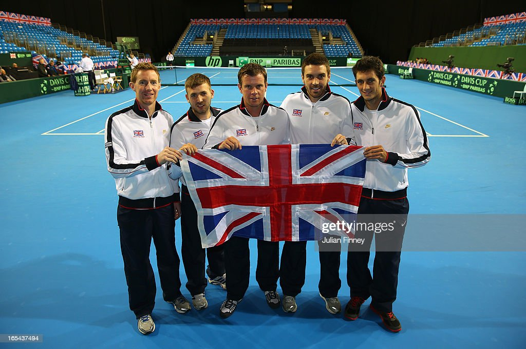 The Great Britain team line up (L-R) <a gi-track='captionPersonalityLinkClicked' href=/galleries/search?phrase=Jonathan+Marray&family=editorial&specificpeople=210685 ng-click='$event.stopPropagation()'>Jonathan Marray</a>, Daniel Evans, Captain <a gi-track='captionPersonalityLinkClicked' href=/galleries/search?phrase=Leon+Smith+-+Tennis+Coach&family=editorial&specificpeople=12698515 ng-click='$event.stopPropagation()'>Leon Smith</a>, Colin Fleming and James Ward during previews for the Davis Cup match between Great Britain and Russia at the Ricoh Arena on April 4, 2013 in Coventry, England.