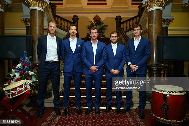 The Great Britain team of Dom Inglot Andy Murray captain Leon Smith Dan Evans and Jamie Murray pose for photo before the official dinner ahead of the...