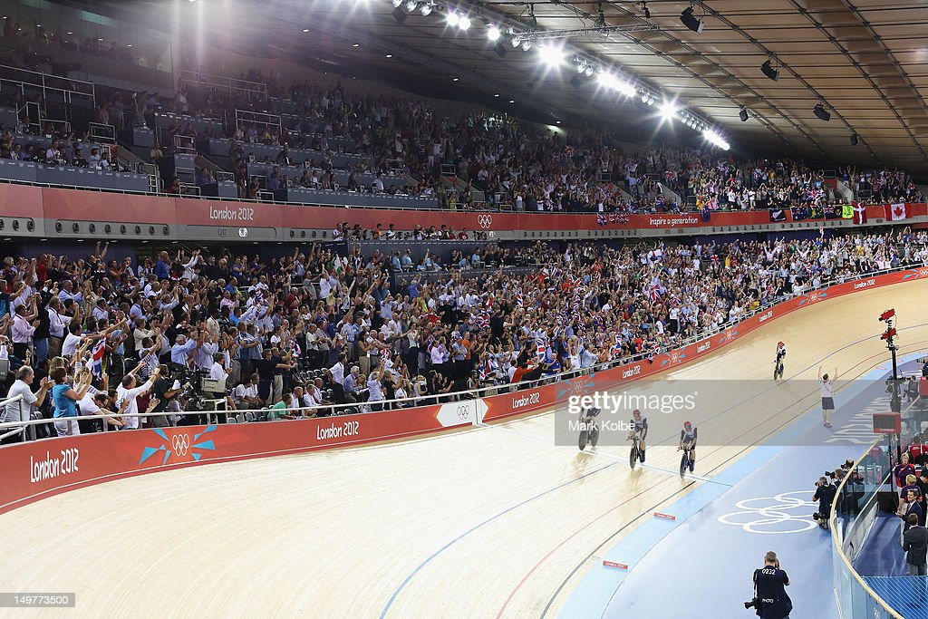 The Great Britain team win the Men's Team Pursuit Track Cycling final at the Velodrome on August 3, 2012 in London, England.