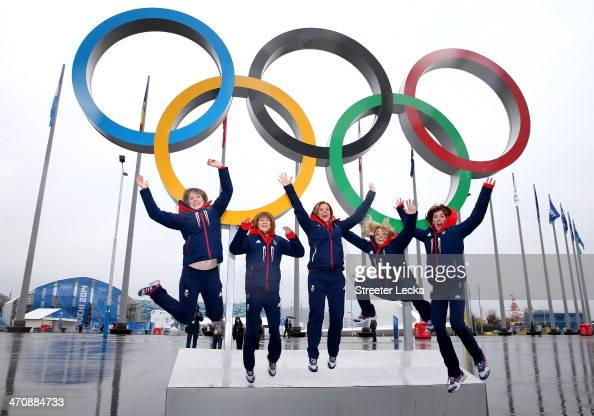 The Great Britain women's curling team pose for pictures in the Olympic Park at the Medals Plaza on February 21 2014 in Sochi Russia