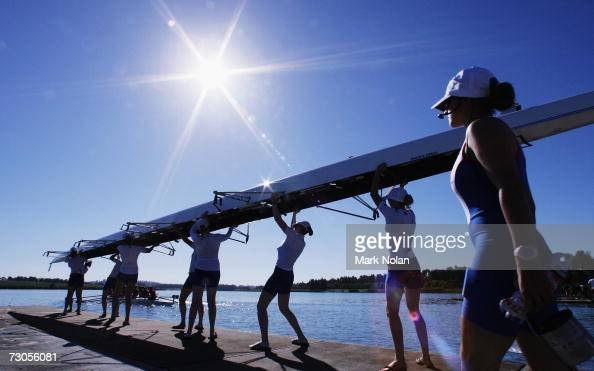 The Great Britain womens eight crew prepare for a race during the Rowing competition of the 2007 Australian Youth Olympic Festival at the Sydney...