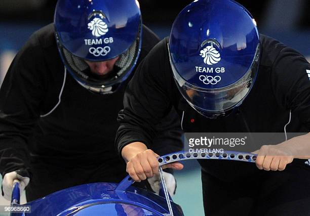 The Great Britain1 women's bobsleigh piloted by Nicola Minichiello during an official training session at the Whistler sliding centre during the...