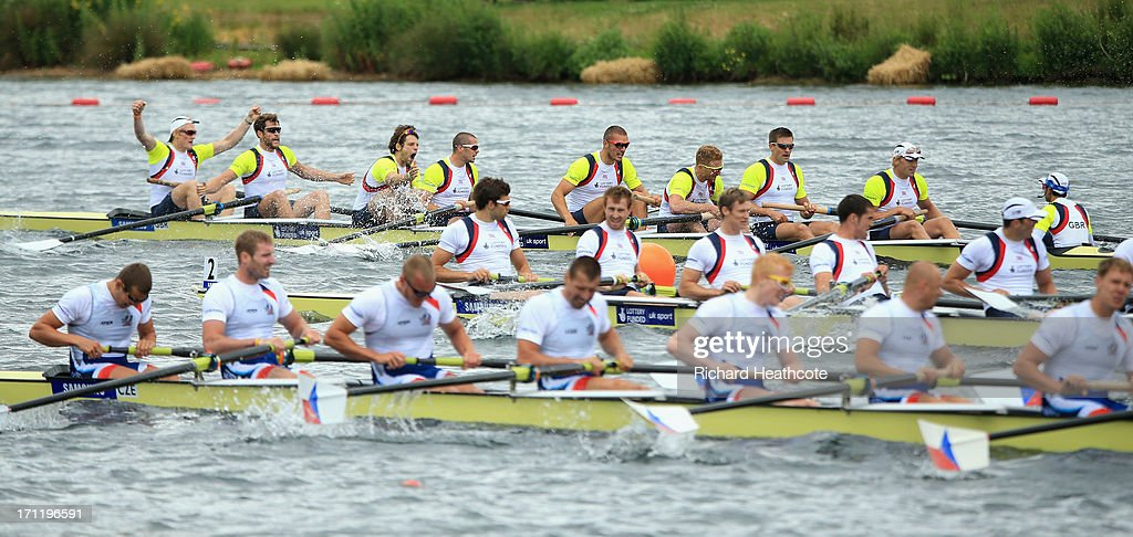 The Great Britian Men's Eight crew of Phelan Hill, Andrew Triggs-Hodge, <a gi-track='captionPersonalityLinkClicked' href=/galleries/search?phrase=Pete+Reed&family=editorial&specificpeople=5416911 ng-click='$event.stopPropagation()'>Pete Reed</a>, <a gi-track='captionPersonalityLinkClicked' href=/galleries/search?phrase=William+Satch&family=editorial&specificpeople=5996779 ng-click='$event.stopPropagation()'>William Satch</a>, Mohamed Sbihi, James Foad, Tom Ransley, Daniel Ritchie and Oliver Cook celebrate winning the final during the third day of the 2013 Samsung World Rowing Cup II at Eton Dorney on June 23, 2013 in Windsor, England.