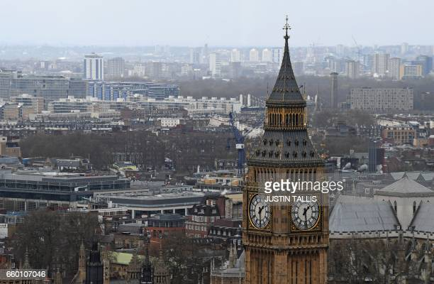 The Great Clocks of the Elizbeth Tower commonly known as the Big Ben are pictured in central London on March 29 at the Palace of Westminster...