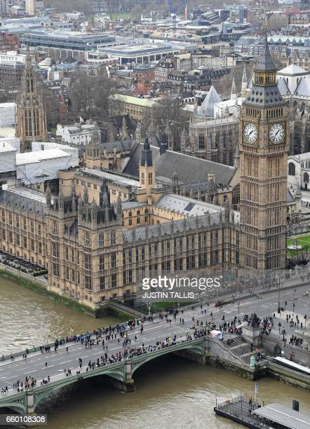 The Great Clocks of the Elizbeth Tower commonly known as the Big Ben are pictured in central London on March 29 at the Palace of Westminster which...