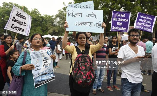 The Great Enthusiasm Scientists professors Teachers Research Scholars Students and Science loving people join India march for Science carrying...