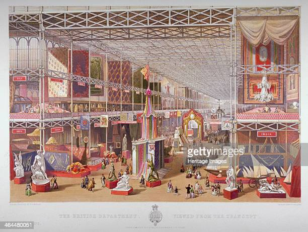 The Great Exhibition Hyde Park Westminster London 1851 Interior of the Crystal Palace showing the British Department viewed from the transept