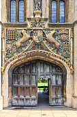The great gate of Christ's college university of Cambridge, in Cambridge, UK