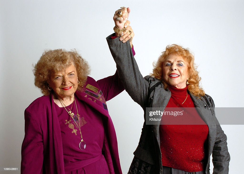 The Great <a gi-track='captionPersonalityLinkClicked' href=/galleries/search?phrase=Mae+Young&family=editorial&specificpeople=12342111 ng-click='$event.stopPropagation()'>Mae Young</a> and <a gi-track='captionPersonalityLinkClicked' href=/galleries/search?phrase=The+Fabulous+Moolah&family=editorial&specificpeople=2656770 ng-click='$event.stopPropagation()'>The Fabulous Moolah</a> during 3rd Annual Tribeca Film Festival - 'Lipstick & Dynamite, Piss & Vinegar: The First Ladies Of Wrestling' Portrait Session at Turning Leaf Portrait Studio in New York City, New York, United States.
