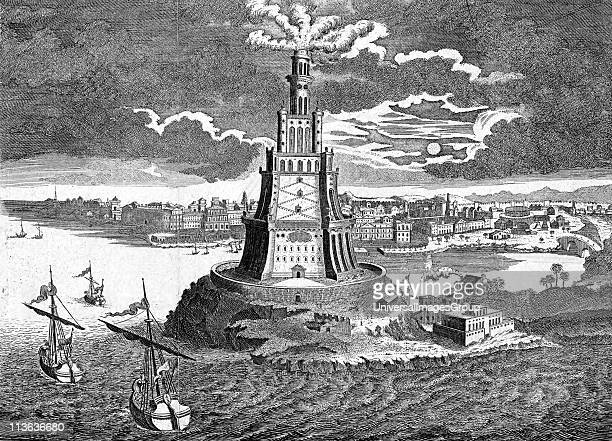 The great Pharos built in 280 BC on the island of Pharos in the bay of Alexandria Egypt 18th century engraving