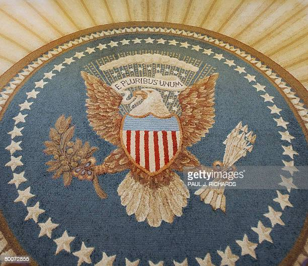 The Great Seal of the United States with is actually part of the carpet inside the Oval Office of the White House February 29 2008 in Washington DC...