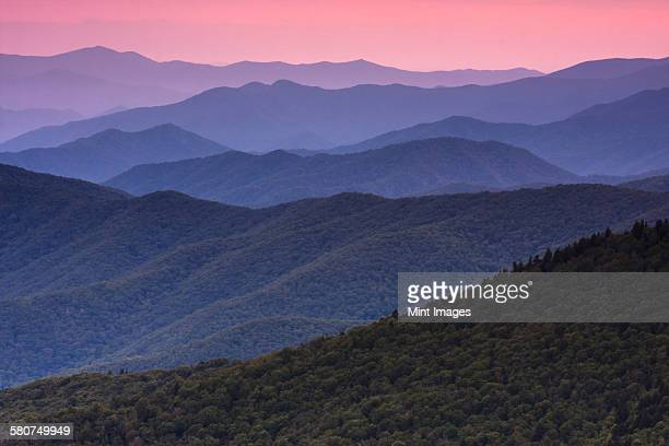 The Great Smoky Mountains in Tennessee at dusk.