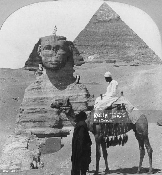 The Great Sphinx of Giza Egypt 1899 A portrait statue of the 4th dynasty Pharaoh Khafre in the form of a sphinx a mythical creature with a lion's...