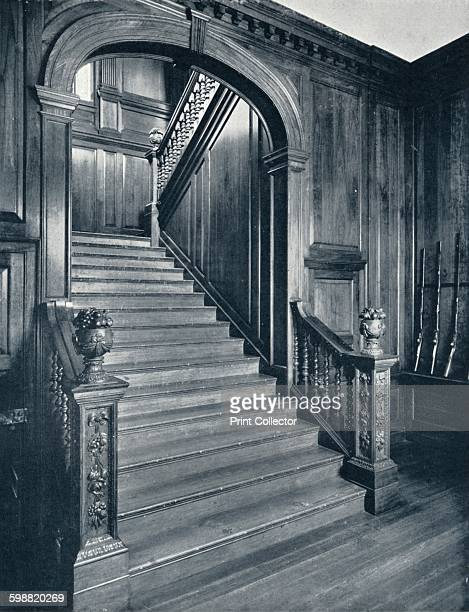 The Great Staircase of the Palace circa 1938 The great staircase of the palace has old pine treads with nosings of walnut inlaid with box the carving...