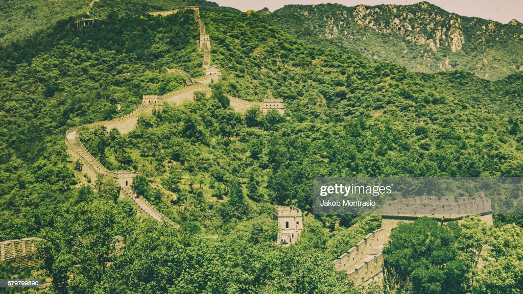 The Great Wall of China with very little tourists : Stock Photo