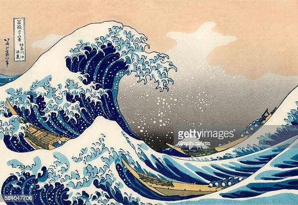 The Great Wave off Kanagawa circa 183033 The print is from the series Fugaku sanjurokkei its title in Japanese is 'Kanagawaoki nami ura' Ukiyoe...