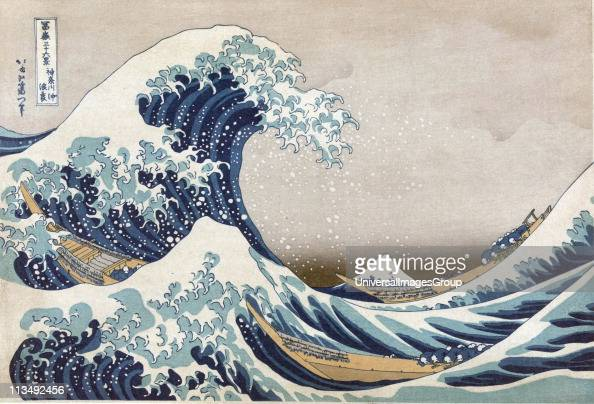 The Great Wave off the coast at Kanagawa c1830 From 'Thirtysix Views of Mount Fuji' c1831 Katsushika Hokusai Japanese Ukiyoe artist Men crouch in...