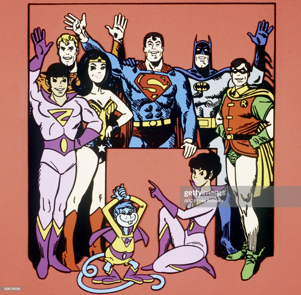 SUPERFRIENDS - 5/4/73, The greatest heroes - banded together to stamp out the forces of evil wherever and whenever. Based on DC Comics' long-running Justice League of America series, the show featured the Justice League including The Atom, Aquaman, Wonder Woman, Superman, Batman & Robin, Aquaman, and Wonder Woman together with apprentice super-heroes Marvin, Wendy, and Wonder Dog.,