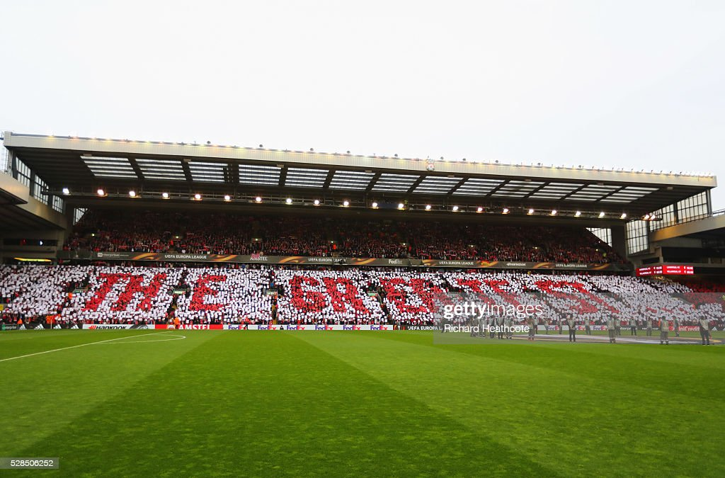 'The Greatest' is displayed in the stand prior to the UEFA Europa League semi final second leg match between Liverpool and Villarreal CF at Anfield on May 5, 2016 in Liverpool, England.